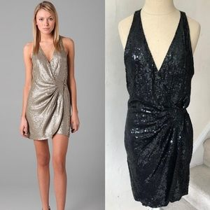 Parker Black sequin wrap parker dress EUC like new